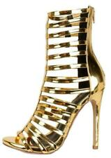 Gold Metallic Strappy Caged Open Toe Gladiator Booties Exotic Heels Size H193