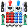 2 Player Arcade Game DIY Kit Parts 2 Ellipse Joystick 20 LED Arcade Push Buttons