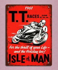 metal sign plaque vintage retro style TT races motorbike man cave 20 x 15cm
