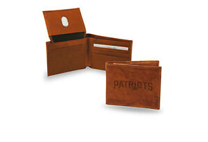 New England Patriots STANDARD Authentic Embossed Leather Billfold Wallet NWT