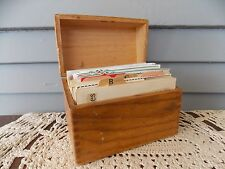 Vintage Wooden Recipe Box Finger Jointed Dovetail Corners with Recipes