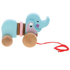 Cute Cartoon Elephant Wooden Walk Along Pull Walking Toy for Baby Toddler
