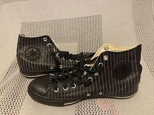 Rare Black Leather Striped High Top Converse All Star Men 9 Women 11 No Insoles