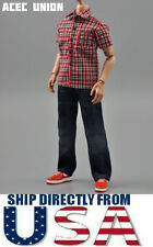 "1/6 Red Plaid Short Sleeves Shirt Blue Jeans Set For 12"" Hot Toys Figure U.S.A."