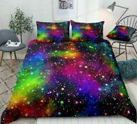 3D Rainbow Galaxy Sky Quilt Duvet Doona Cover Stars Bedding Pillow case