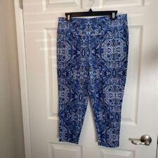 Diane Gilman DG2 Womens Capri Leggings Blue White Paisley Cropped M New
