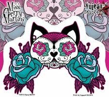 Kitty Pegatina Sticker gato tatto Sugar Skull rythm aprox. cm 14x10