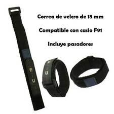 Correa de reloj de velcro negra compatible con casio F 91 w negro