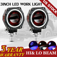 3 Inch Red Halo LED Work Light Bar Pods Off Road 4WD ATV Spot Driving Fog Lamps