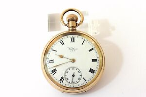 C.1910 GENTS GOLD PLATED WALTHAM TRAVELER POCKET WATCH  NEAR MINT CONDITION