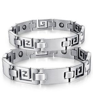 Edelstahl Magnetisches Armband Vital auch als Partnerarmbänder in silber + Box
