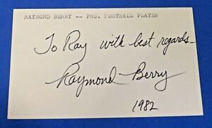 RAY BERRY SIGNED INDEX CARD ~ Baltimore Colts HOF Receiver ~ JSA Basic Cert ~