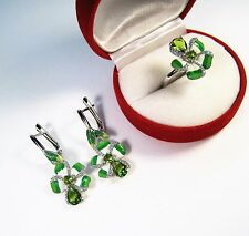 2.46 CTW PERIDOT with CZ EARRINGS & RING #7.75 14k WHITE GOLD/ENAMEL/925 SILVER