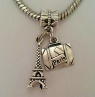 Travel France Paris Eiffel Tower Suitcase Charm Pendant Bead f/European Bracelet