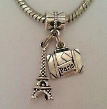 Travel France Paris Eiffel Tower Suitcase Charm Pendant Bead f/European Bracelet