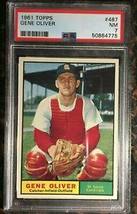 1961 Topps #487 Gene Oliver PSA 7 NM St. Louis Cardinals Baseball Card