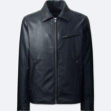 UNIQLO 'Faux (Vegan) Leather' Men's Trucker / Bomber Jacket SMALL Black **NWT**
