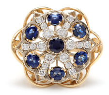7.50Ct Natural Blue Sapphire & Diamond 14K Yellow Solid Gold Ring
