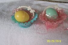 2 Vintage Hard Plastic Best Usa Easter Basket Candy Containers in Pink & Blue