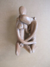 """Small clay sculpture of lovers - 6"""" tall"""