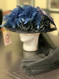 Blue/Black Decorated Wide-Brim NEW Hat - Woman's Old West, Edwardian, Steampunk