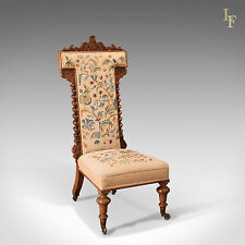 Antique Prie Dieu Chair, Needlepoint Seat, English Victorian Rosewood c.1850