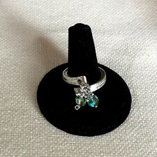 Upcycled Silverplate Spoon Ring, Rogers, Green AB Bi-cone Crystals Size 7