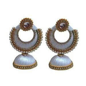 White Color Jhumka Style Silk Thread Earrings For Girls And Women