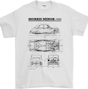 Morris Minor T Shirt Blueprint Plan British Classic Car Collector Gift