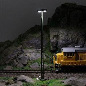 LQS54HO 3pcs Model Railway Lattice Mast HO Scale 1:87 Lamp Track Light 12cm