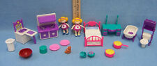 Purple Pink White Doll House Miniatures Bathroom Kitchen Bedroom 2 dolls 15 lot