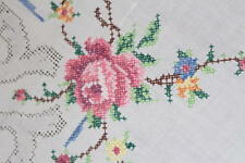 Beauty Of The Blooming Rose! Vtg German Large Madeira Tablecloth + Runner +Doily
