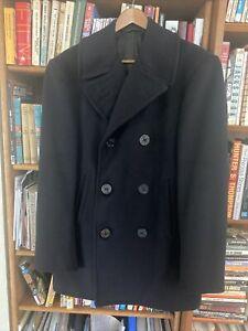 Vintage 1953 US Navy USN 100% Kersey Wool Pea Coat Blue Mens 36R VGC