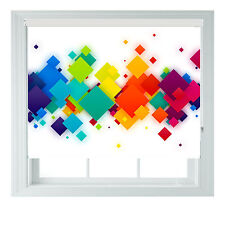 Rainbow SQUARES 3D Geometric Printed Photo black out roller blinds 2 3 4 5ft