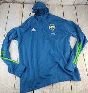 NEW Adidas Seattle Sounders FC 2XL XXL 1/4-Zip Jacket Pullover Hooded Sweatshirt