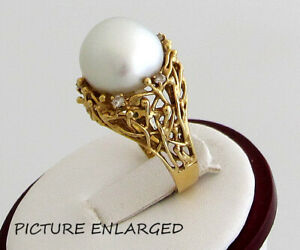 14K Yellow Gold 13.5 mm South Sea Pearl Ring with 10 points Diamonds.