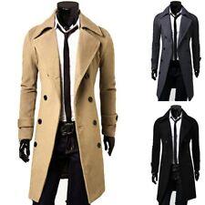 Men Warm Coat Jacket Stylish Double Peacoat Windproof Slim Coat Outwear Parka