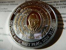 Deutschland-Medaille mit Gold u. Silber veredelt-2014- Hans-Dietrich Genscher
