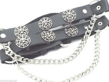 Spider Black Leather Biker Rocker Boot Straps W Chain Buckle Women's Men's PAIR