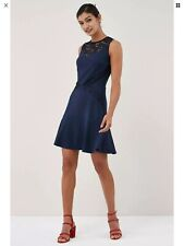 Bnwt🌹Next🌹Size 20 Navy/Blue Lace Insert Filt Flare Dress New Evening Cruise