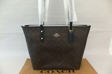 Coach Ladies Leather Large Central City Zip Tote Bag Brown/Blck F58292 RP £295
