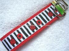 LADYBUGS AND FLOWERS-WONKY STRIPES Key Fobs (really cute keychains)