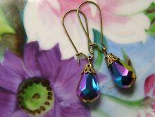 'CARNIVAL GLASS'  vintage ~TEARDROP~aurora borealis ~CRYSTAL~ earrings~