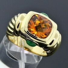 David Yurman 18K Gold 11mm Citrine  Green Onyx Renaissance Ring Size 8
