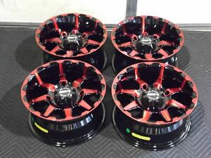 "POLARIS ACE 570 14"" STI HD6 RED ATV WHEELS (SET 4) LIFETIME WARRANTY POL3CA"