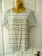 ESMARA Ladies Size 14 White Black Geometric Striped Summer T Shirt Blouse Top