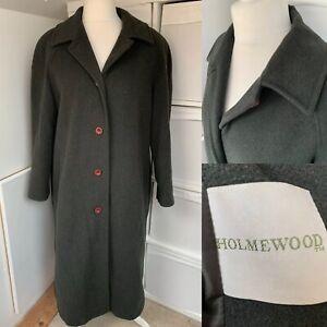 Holmewood Dark Green Wool Blend Coat Size 16 Overcoat Long Button Up