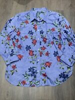 Lauren Ralph Lauren Blue Striped Floral Button Down Shirt Size 3XL