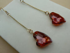 9ct Gold Retro style chain earrings with Swarovski elements Red heart crystals