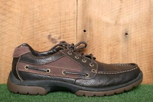 SPERRY Top-Sider Brown Leather & Canvas Moc Toe Boat Shoes Men's Sz. 10.5 M